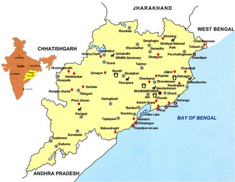 odisha tourist map